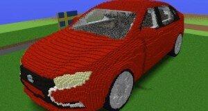 Лада Веста в 3D Minecraft